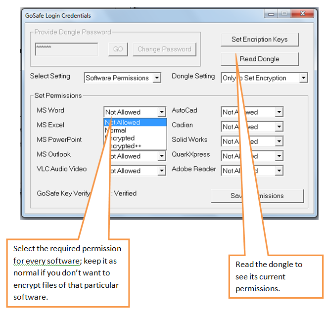 Give permissions to each software program