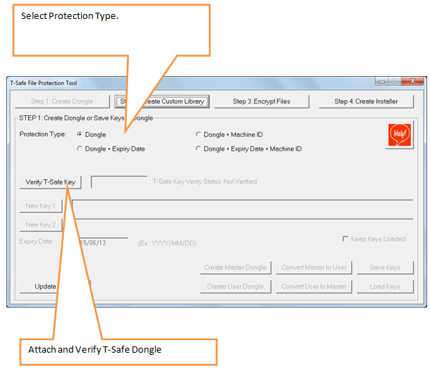 Select protection Type and verify dongle