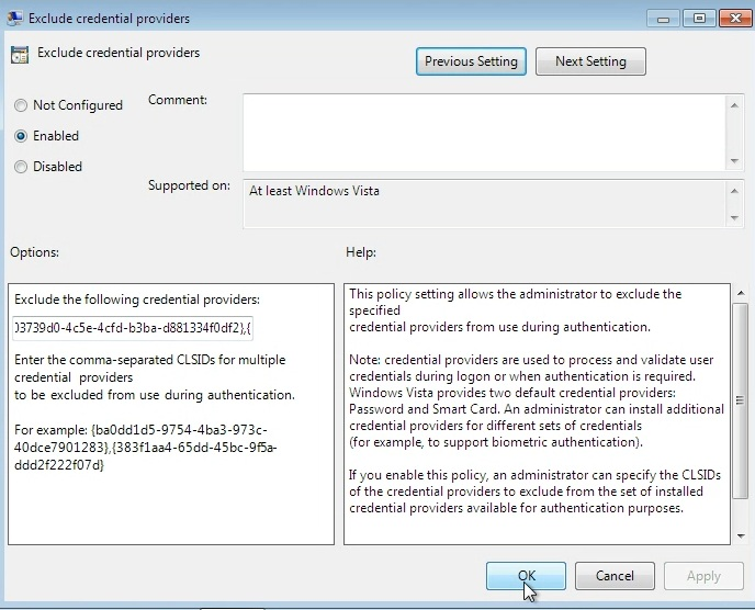 How to hide credential providers from the Windows Logon User
