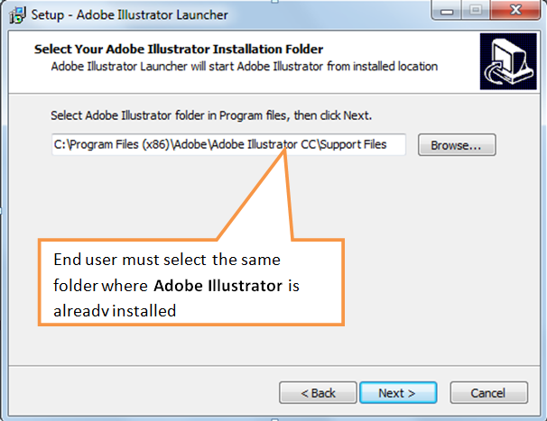 Install in the same folder where Adobe Illustrator is already installed