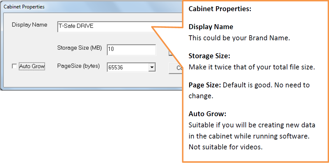 enter display name and storage size