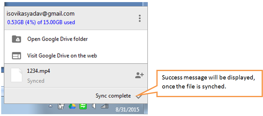 synch complete message in taskbar