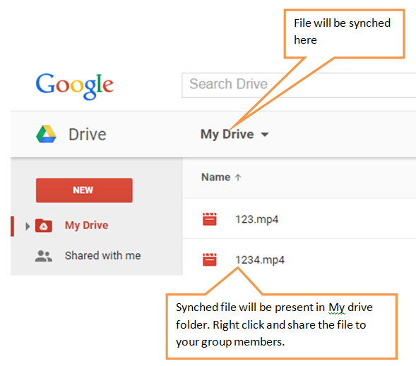 synched file in my drive folder in online google drive