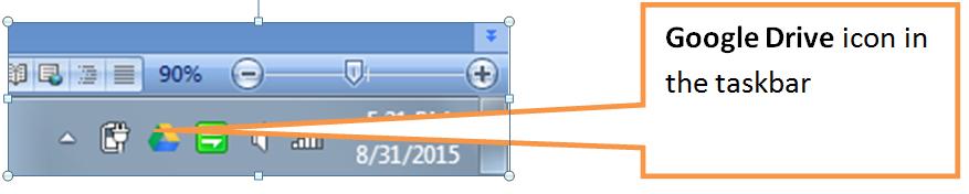 Google drive in taskbar